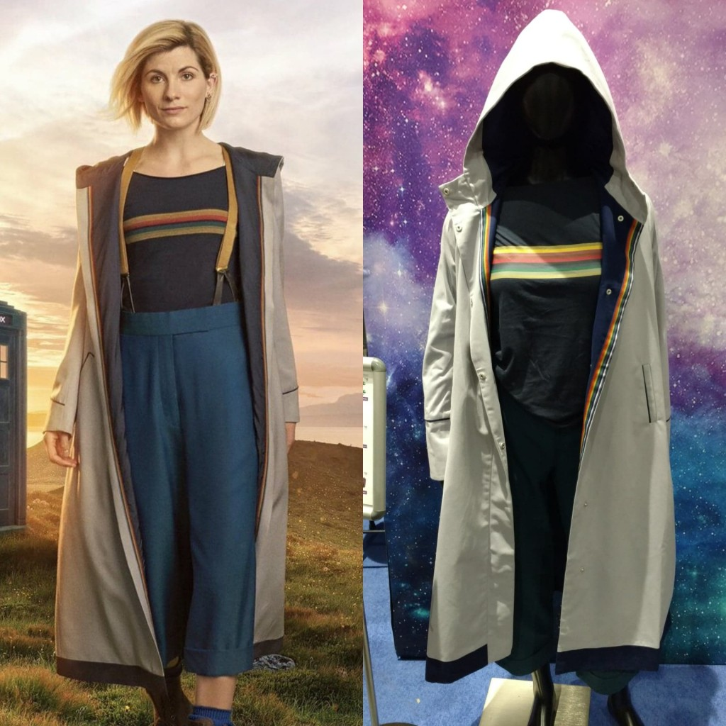 6be49488 The Her Universe Coat has the rainbow stripe starting at the edge one one  side.